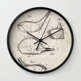 Golf Driver Patent - Golf Art - Antique Wall Clock