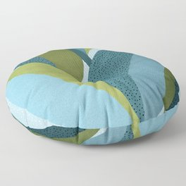 In The Shadows / Abstract Maximal Flora in French Blue and Olive Floor Pillow