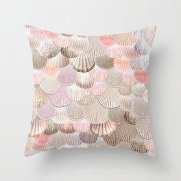 MERMAID SHELLS - CORAL ROSEGOLD Throw Pillow