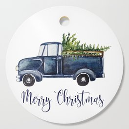 Blue Christmas Truck Cutting Board