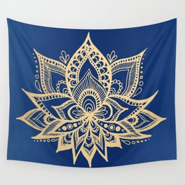 Gold and Blue Lotus Flower Mandala Wall Tapestry
