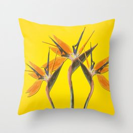 strelitzia - Bird of Paradise Flowers II Throw Pillow