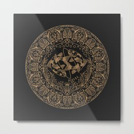 Pisces Zodiac Mandala - Gold on Charcoal Metal Print