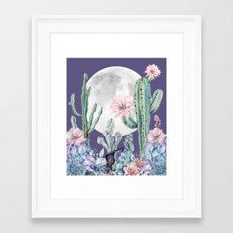 Desert Cactus Full Moon Succulent Garden on Purple Framed Art Print