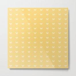 Minimal Butterfly Pattern - Yellow Metal Print