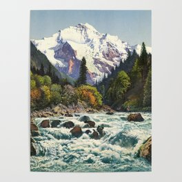 Mountains Forest Rocky River Poster