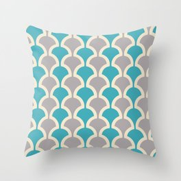 Classic Fan or Scallop Pattern 416 Gray and Turquoise Blue Throw Pillow