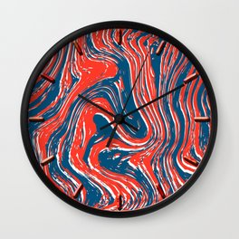 Marbled Red, White, and Blue Wall Clock
