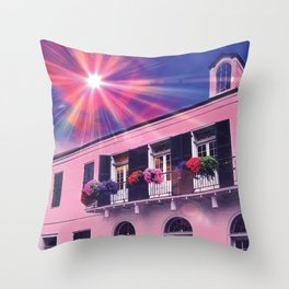 Sunshine on Pink New Orleans French Quarter Nola Home Floral Botanical Garden Cotton Candy Blue Sky Throw Pillow