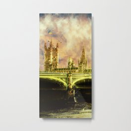 Abstract Golden Westminster Bridge in London Metal Print