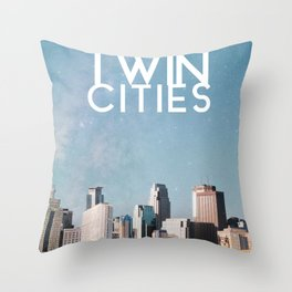 Twin Cities Skylines and Stars-Minneapolis and Saint Paul Minnesota Night Throw Pillow