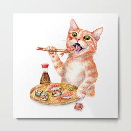 Sushi Cat Metal Print