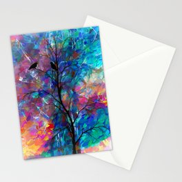 Love Birds Modern Turquoise and Pink Abstract  Wall Art Stationery Cards