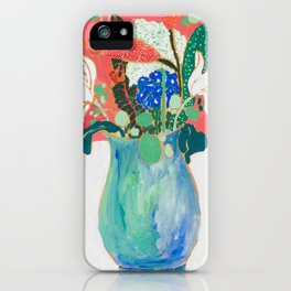 Bouquet of Flowers in Alexandrite Inspired Vase against Salmon Wall iPhone Case