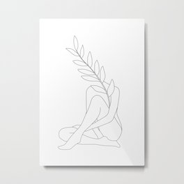 Minimal Line Art Woman with a Tropical Leaf Metal Print