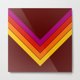 Colorful V Shape Retro Stripes Myeongwol Metal Print