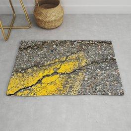 Urban Texture Photography - Road Markings Yellow Arrow Rug