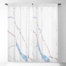 Teal White Glitter Marble II Blackout Curtain