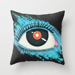 Musical vision: eye illustration with vinyl record for pupil Throw Pillow