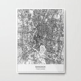 Bangkok, Thailand Map Art (White) Metal Print