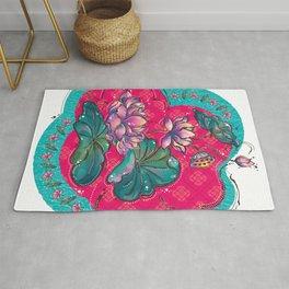 Peranakan Lotus Turquoise Pink Rug