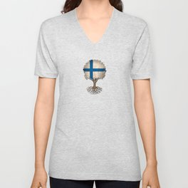 Vintage Tree of Life with Flag of Finland Unisex V-Neck