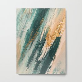 Teal and Gold Glam Abstract Painting Metal Print
