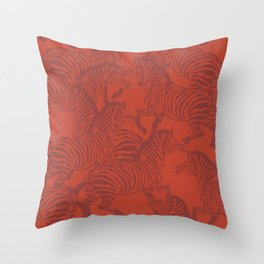 Zebra Stampede in Rust Red Throw Pillow