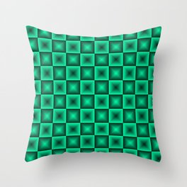 Chess tile of blue rhombs and black strict triangles. Throw Pillow