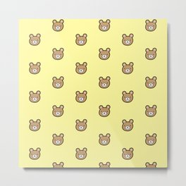 Cute Teddy Bear Pattern (Yellow) Metal Print