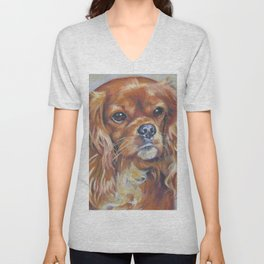 Beautiful Ruby Cavalier King Charles Spaniel Dog Painting by LA.Shepard Unisex V-Neck