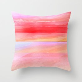 Seascape in Red, Yellow and Pink Throw Pillow