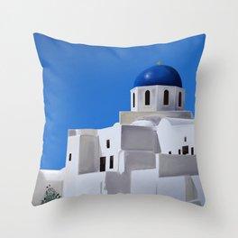 The Blue Dome Church of Oia - Santorini, Greece - Minimalist Travel Painting Throw Pillow
