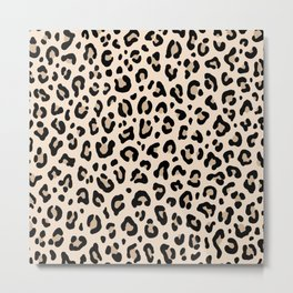 BLACK and WHITE LEOPARD PRINT – Ecru | Collection : Leopard spots – Punk Rock Animal Prints. Metal Print