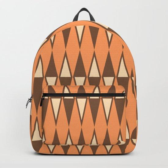 Mid Century Modern Diamond Pattern Brown Orange 231 by tonymagner
