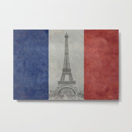 Flag of France with Eiffel Tower Vintage style Metal Print
