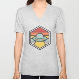 Retro Badge UFO Light Unisex V-Neck
