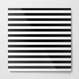 Black and White Horizontal Strips | Classic Cabana Stripe Metal Print