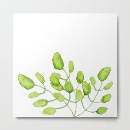 Watercolor green leaves Metal Print