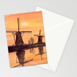 Windmills Sunset in Kinderdijk Holland Stationery Cards