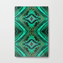 Malachite-inspired alcohol ink art with hints of emerald green, gold and black Metal Print