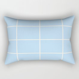 Baby Blue Off-White Criss Cross Stripe Pattern 2021 Color of the Year Wild Blue Yonder Swiss Coffee Rectangular Pillow