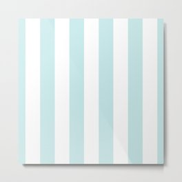 Duck Egg Pale Aqua Blue and White Wide Vertical Cabana Tent Stripe Metal Print