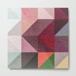 Warm Textured Chevron Geometrical Pattern Metal Print