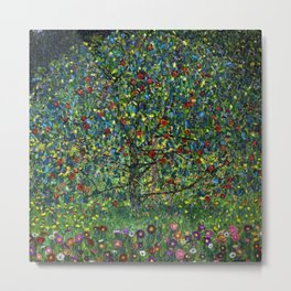 Colorful Poppies and Apple Tree in Orchard landscape by Gustav Klimt Metal Print