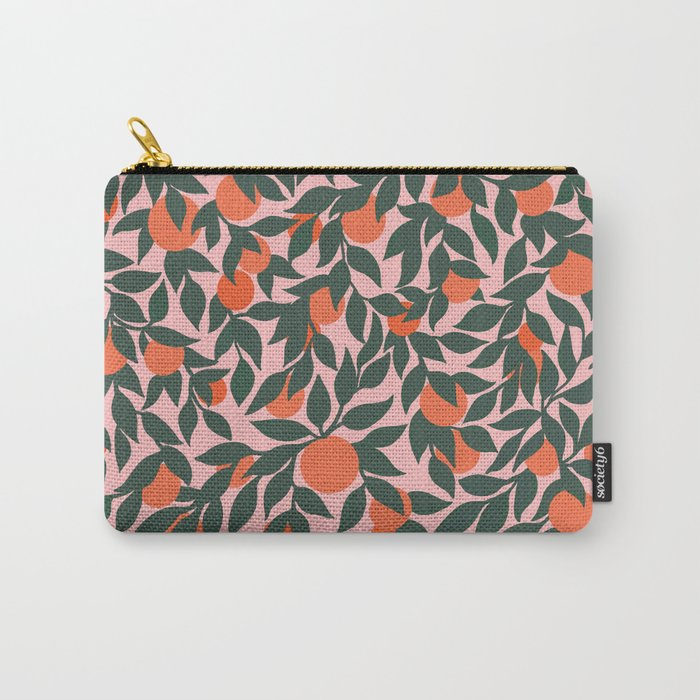 Oranges and Leaves Pattern - Pink Carry-All Pouch