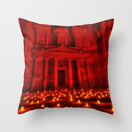 Nabatean Kingdom Petra 'Treasury' Ruins Rose City by Night Candle Ceremony Throw Pillow