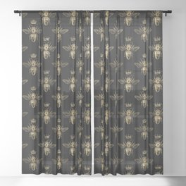 Black & Gold Queen Bee Pattern Sheer Curtain