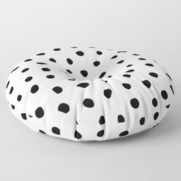 Modern Polka Dots Black on Light Gray Floor Pillow