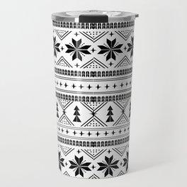 Fair Isle christmas pattern snowflakes camping winter trees christmas tree minimal black and white Travel Mug